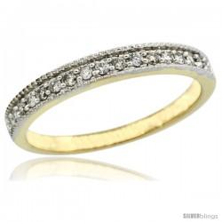 14k Gold Ladies' 3mm Diamond Wedding Ring Band w/ 0.168 Carat Brilliant Cut Diamonds