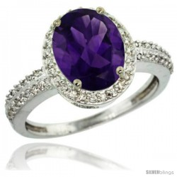 Sterling Silver Diamond Natural Amethyst Ring Oval Stone 10x8 mm 2.4 ct 1/2 in wide
