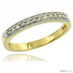 14k Gold 2.5mm Diamond Wedding Ring Band w/ 0.176 Carat Brilliant Cut Diamonds