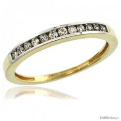 14k Gold 3mm Classic Channel Set Diamond Ring Band w/ 0.18 Carat Brilliant Cut Diamonds