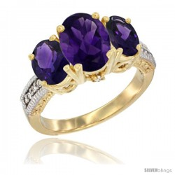 14K Yellow Gold Ladies 3-Stone Oval Natural Amethyst Ring Diamond Accent