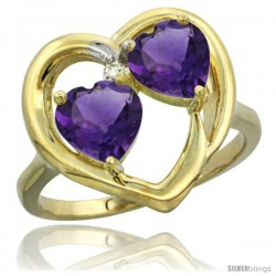 14k Yellow Gold 2-Stone Heart Ring 6 mm Natural Amethyst Stones Diamond Accent