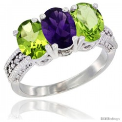 14K White Gold Natural Amethyst & Peridot Sides Ring 3-Stone 7x5 mm Oval Diamond Accent