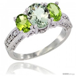 14k White Gold Ladies Oval Natural Green Amethyst 3-Stone Ring with Peridot Sides Diamond Accent