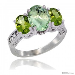 14K White Gold Ladies 3-Stone Oval Natural Green Amethyst Ring with Peridot Sides Diamond Accent