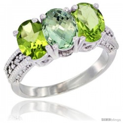 14K White Gold Natural Green Amethyst & Peridot Sides Ring 3-Stone 7x5 mm Oval Diamond Accent