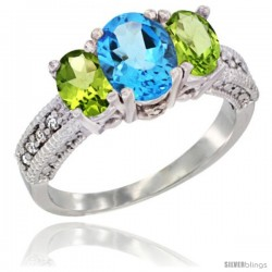 14k White Gold Ladies Oval Natural Swiss Blue Topaz 3-Stone Ring with Peridot Sides Diamond Accent