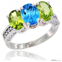 14K White Gold Natural Swiss Blue Topaz & Peridot Sides Ring 3-Stone 7x5 mm Oval Diamond Accent