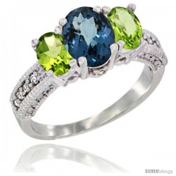 14k White Gold Ladies Oval Natural London Blue Topaz 3-Stone Ring with Peridot Sides Diamond Accent