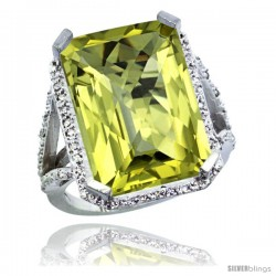 Sterling Silver Diamond Natural Lemon Quartz Ring 14.96 ct Emerald Shape 18x13 Stone 13/16 in wide