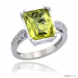 Sterling Silver Diamond Natural Lemon Quartz Ring 5.83 ct Emerald Shape 12x10 Stone 1/2 in wide