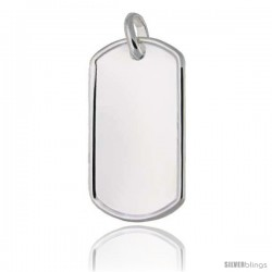 Sterling Silver Dog Tag Raised Border 2 in full size