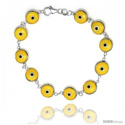 Sterling Silver Yellow Color Evil Eye Bracelet, 7 in long