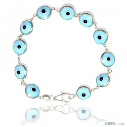 Sterling Silver Sky Blue Color Evil Eye Bracelet, 7 in long