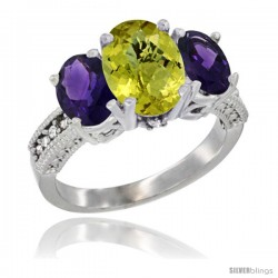 14K White Gold Ladies 3-Stone Oval Natural Lemon Quartz Ring with Amethyst Sides Diamond Accent