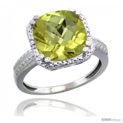 Sterling Silver Diamond Natural Lemon Quartz Ring 5.94 ct Checkerboard Cushion 11 mm Stone 1/2 in wide