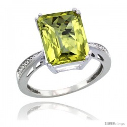 Sterling Silver Diamond Natural Lemon Quartz Ring 5.83 ct Emerald Shape 12x10 Stone 1/2 in wide -Style Cwg27149