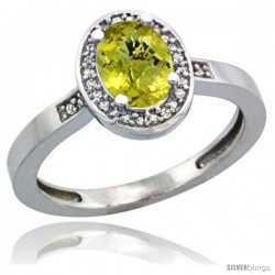 Sterling Silver Diamond Natural Lemon Quartz Ring 1 ct 7x5 Stone 1/2 in wide