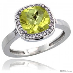 Sterling Silver Diamond Natural Lemon Quartz Ring 2.08 ct Checkerboard Cushion 8mm Stone 1/2.08 in wide