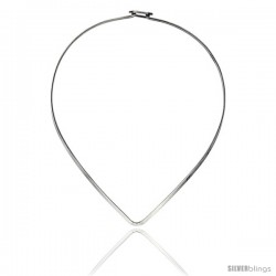 Sterling Silver 3.2 mm V shape Wire Chocker with clasp