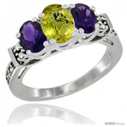 14K White Gold Natural Lemon Quartz & Amethyst Ring 3-Stone Oval with Diamond Accent