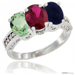 14K White Gold Natural Green Amethyst, Ruby & Lapis Ring 3-Stone 7x5 mm Oval Diamond Accent