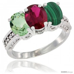 14K White Gold Natural Green Amethyst, Ruby & Malachite Ring 3-Stone 7x5 mm Oval Diamond Accent