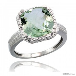 14k White Gold Diamond Green-Amethyst Ring 5.94 ct Checkerboard Cushion 11 mm Stone 1/2 in wide