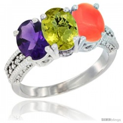 14K White Gold Natural Amethyst, Lemon Quartz & Coral Ring 3-Stone 7x5 mm Oval Diamond Accent