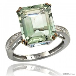 14k White Gold Diamond Green-Amethyst Ring 5.83 ct Emerald Shape 12x10 Stone 1/2 in wide -Style Cw402149