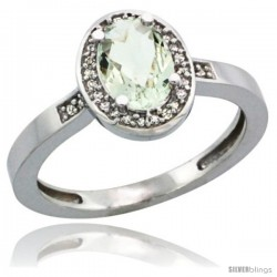 14k White Gold Diamond Green-Amethyst Ring 1 ct 7x5 Stone 1/2 in wide