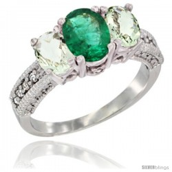 14k White Gold Ladies Oval Natural Emerald 3-Stone Ring with Green Amethyst Sides Diamond Accent