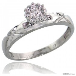 10k White Gold Diamond Engagement Ring 0.06 cttw Brilliant Cut, 1/8 in wide