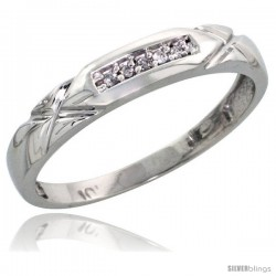 10k White Gold Ladies Diamond Wedding Band Ring 0.03 cttw Brilliant Cut, 1/8 in wide