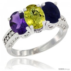 14K White Gold Natural Amethyst, Lemon Quartz & Lapis Ring 3-Stone 7x5 mm Oval Diamond Accent