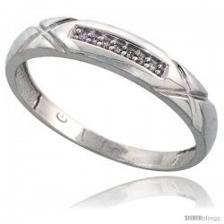 10k White Gold Mens Diamond Wedding Band Ring 0.04 cttw Brilliant Cut, 3/16 in wide