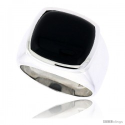 "Sterling Silver Gents' Ring w/ a Square-shaped Jet Stone, 5/8"" (16 mm) wide, size"