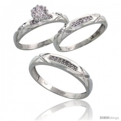 10k White Gold Diamond Trio Engagement Wedding Ring 3-piece Set for Him & Her 4 mm & 3.5 mm wide 0.13 cttw Brilliant Cut