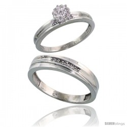 10k White Gold Diamond Engagement Rings 2-Piece Set for Men and Women 0.09 cttw Brilliant Cut, 5 mm & 3 mm wide