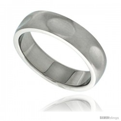 Surgical Steel Dabbed Surface Ring comfort-Fit 6mm Domed Wedding Band