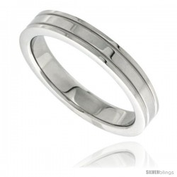 Surgical Steel 4mm Wedding Band Thumb Ring Grooved Edges High Polish