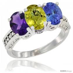 14K White Gold Natural Amethyst, Lemon Quartz & Tanzanite Ring 3-Stone 7x5 mm Oval Diamond Accent
