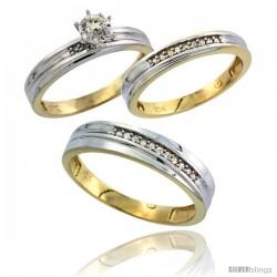 10k Yellow Gold Diamond Trio Wedding Ring Set His 5mm & Hers 3mm