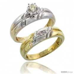 10k Yellow Gold Ladies' 2-Piece Diamond Engagement Wedding Ring Set, 7/32 in wide -Style 10y105e2
