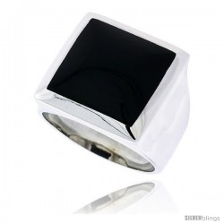 "Sterling Silver Gents' Ring w/ a Square-shaped Jet Stone, 11/16"" (18 mm) wide"