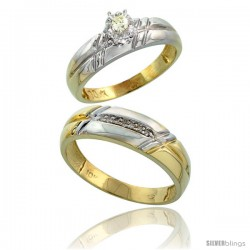 10k Yellow Gold 2-Piece Diamond wedding Engagement Ring Set for Him & Her, 5.5mm & 6mm wide