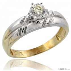 10k Yellow Gold Diamond Engagement Ring, 7/32 in wide -Style 10y105er