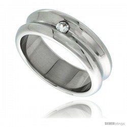 Surgical Steel Concaved 8mm Wedding Band Ring CZ Stone Polished Finish Rounded Edges