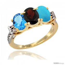 10K Yellow Gold Natural Swiss Blue Topaz, Garnet & Turquoise Ring 3-Stone Oval 7x5 mm Diamond Accent
