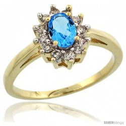 10k Yellow Gold Swiss Blue Topaz Diamond Halo Ring Oval Shape 1.2 Carat 6X4 mm, 1/2 in wide